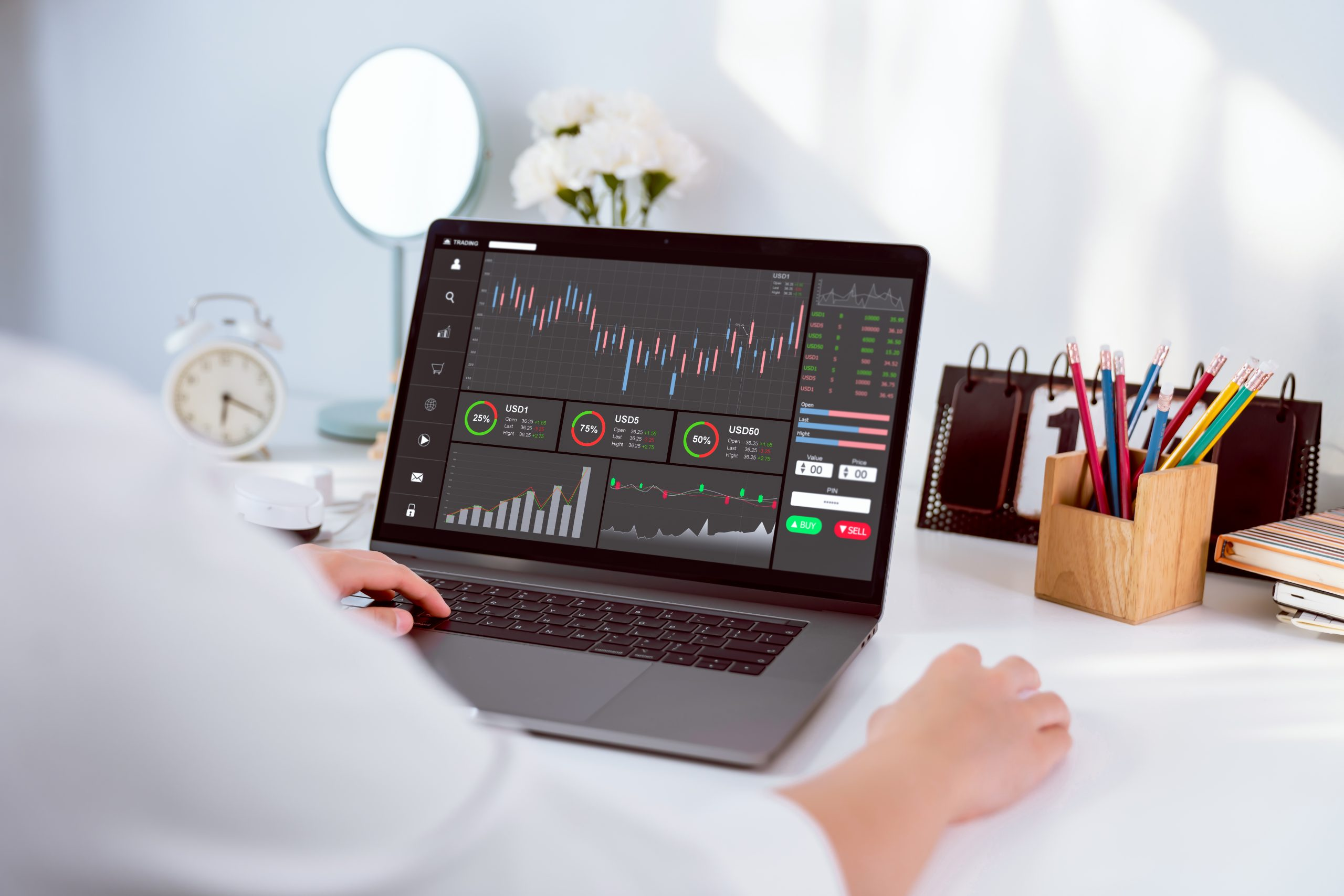 Stock exchange market concept, businesswoman trader looking computer with graphs analysis candle line on table in office, diagrams on screen.